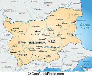 Map of Bulgaria as an overview map in pastel orange