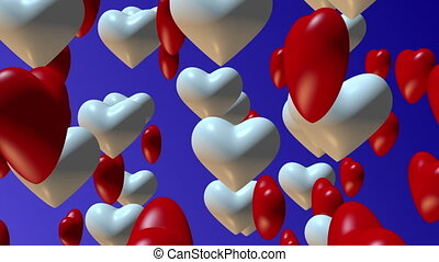 Hearts on blue background
