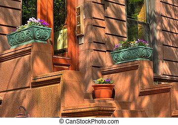 New York City Brownstone - Entrance to a New York City...