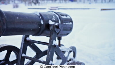 Cast-iron cannon at Onega lake quay, slider - Close-up view...