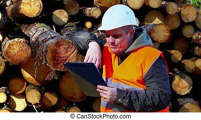 Worried lumberjack with folder near logs in forest