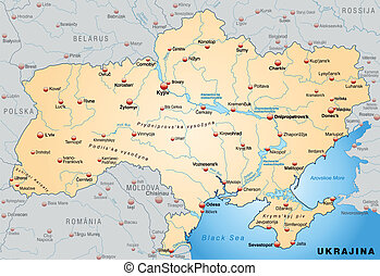 Map of Ukraine as an overview map in pastel orange
