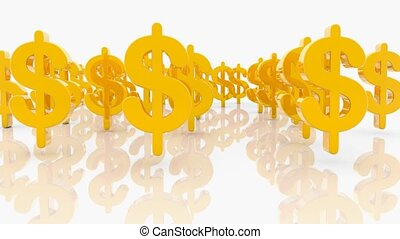 Golden dollar signs on white background