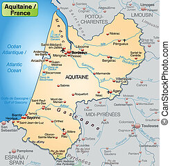 Map of aquitaine as an overview map in pastel orange