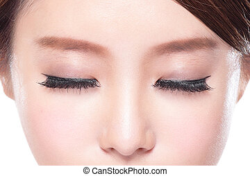attractive woman closed eyes