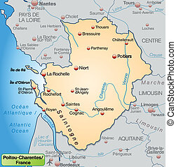 Map of Poitou-Charentes as an overview map in pastel orange