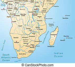 Map of the South of Africa