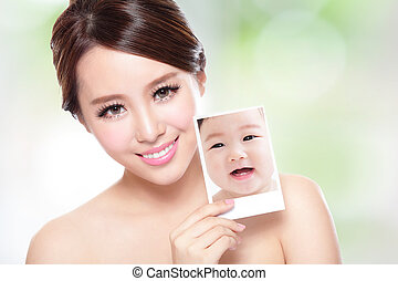 beauty woman with perfect skin like baby - portrait of the...