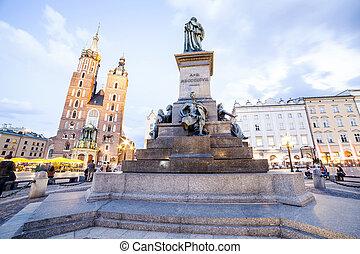 Krakow market square, Poland, Europe - Mickiewicz Monument...