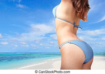 jovem, mulher, excitado, biquíni, praia