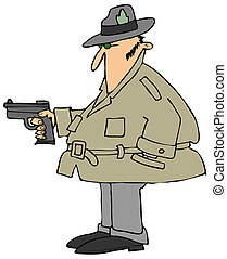 Private eye with a gun - This illustration depicts a man...