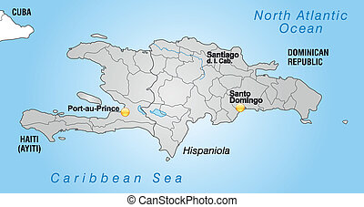 Map of hispaniola with borders in gray