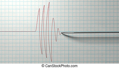 Polygraph Needle And Drawing - A closeup of a polygraph lie...