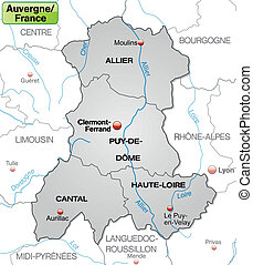 Map of auvergne with borders in gray