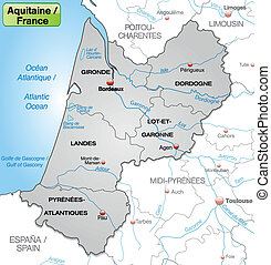 Map of aquitaine with borders in gray
