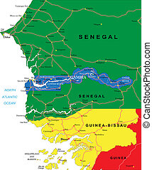 Gambia map - Highly detailed vector map of Gambia with...