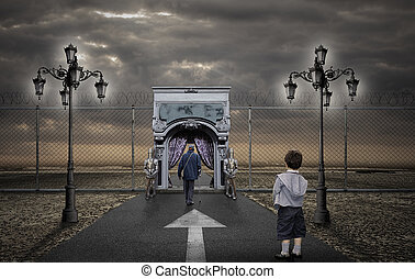 Afterlife - Child looking the old man going to the afterlife
