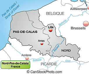 Map of North-pas-de-calais with borders in gray