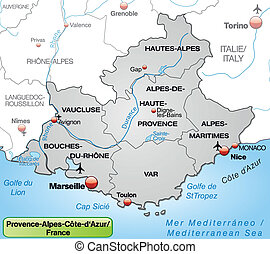 Map of Provence-Alpes-Cote d Azur with borders in gray