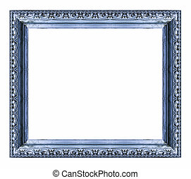 Vintage blue frame with blank space, isolate on white...