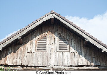 Wooden roof of the old house