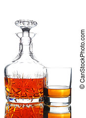 Decanter and glass full of Whiskey/Scotch on White