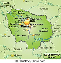 Map of Ile-de-France with borders in green