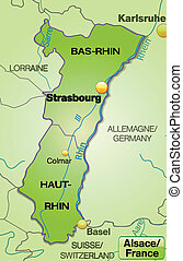 Map of Alsace with borders in green
