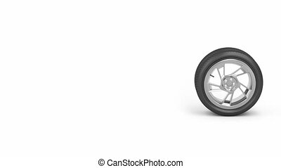 Car wheel - Car tire rolling from right to left