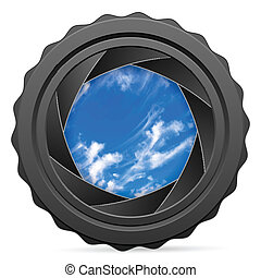 camera shutter with cloudy sky - Camera shutter with sky on...