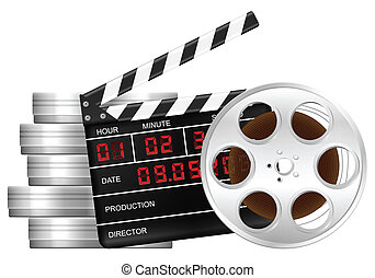 film reel and clapper board
