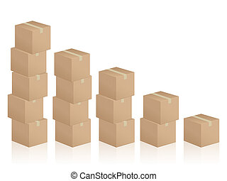 cardboard boxes diagram - Diagram formed by cardboard boxes...