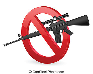 no M16 sign - No weapon sign on a white background.