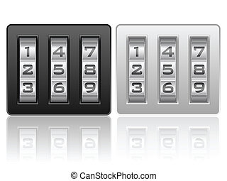 combination lock icon - Combination lock icons on a white...