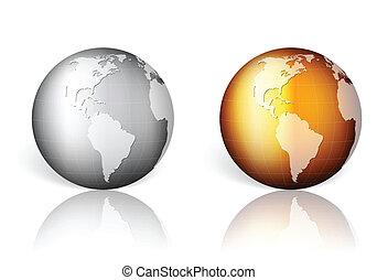 gold silver world globe