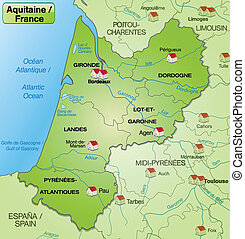 Map of aquitaine with borders in green