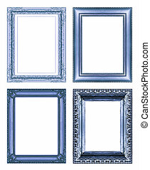 set of Vintage blue frame with blank space, isolate on white...