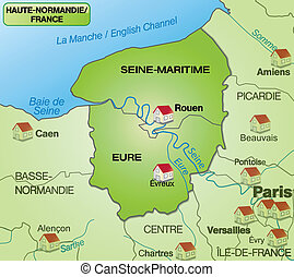 Map of Upper Normandy with borders in green