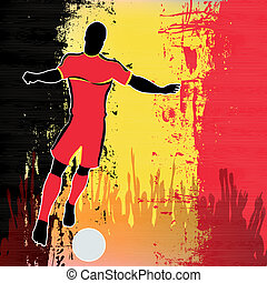 Football Belgium, Vector Soccer player over a grunged...