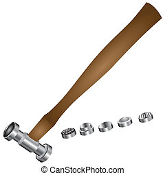 Hammer for minting with replaceable working surfaces Vector...
