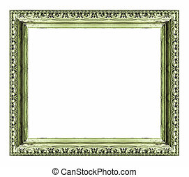 Vintage green frame with blank space , isolate on white...