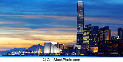 Skyline of Hong Kong at sunset