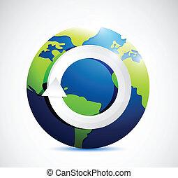 turning cycle symbol icon on globe illustration