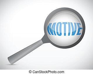 motive under a magnify glass. illustration design over a...
