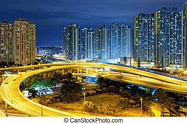 city overpass at night, HongKong - traffic , aerial view of...
