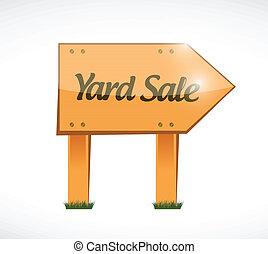 wood yard sale sign illustration design