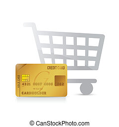 shopping cart and credit card illustration