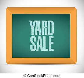 yard sale sign on board