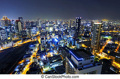 Osaka at night, Japan - Panoramic view Osaka at night, Japan...