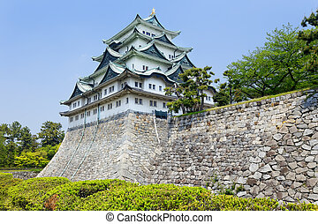 Nagoya castle atop with golden tiger fish head pair called...